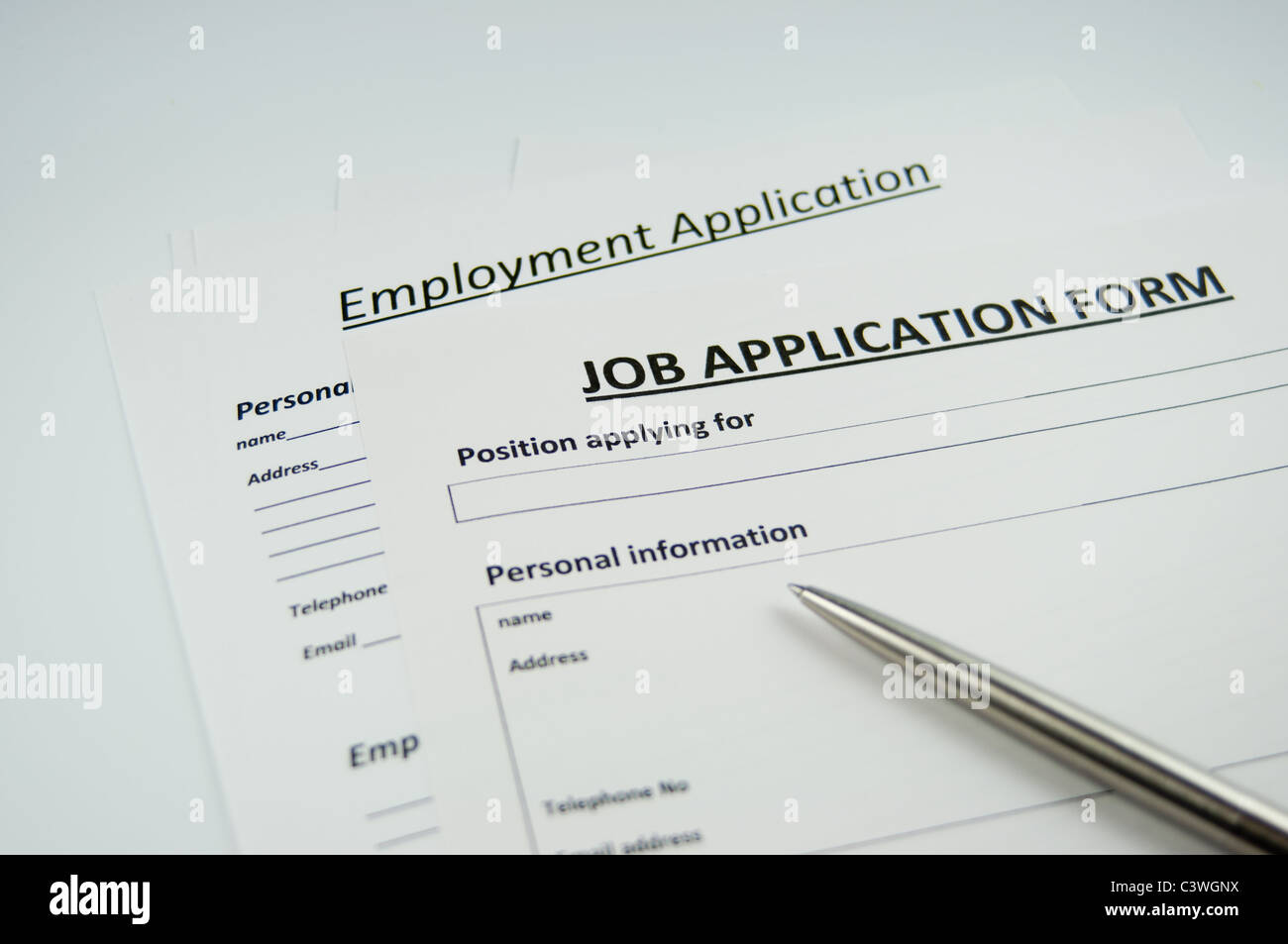 job application forms stock photo 36826662 alamy