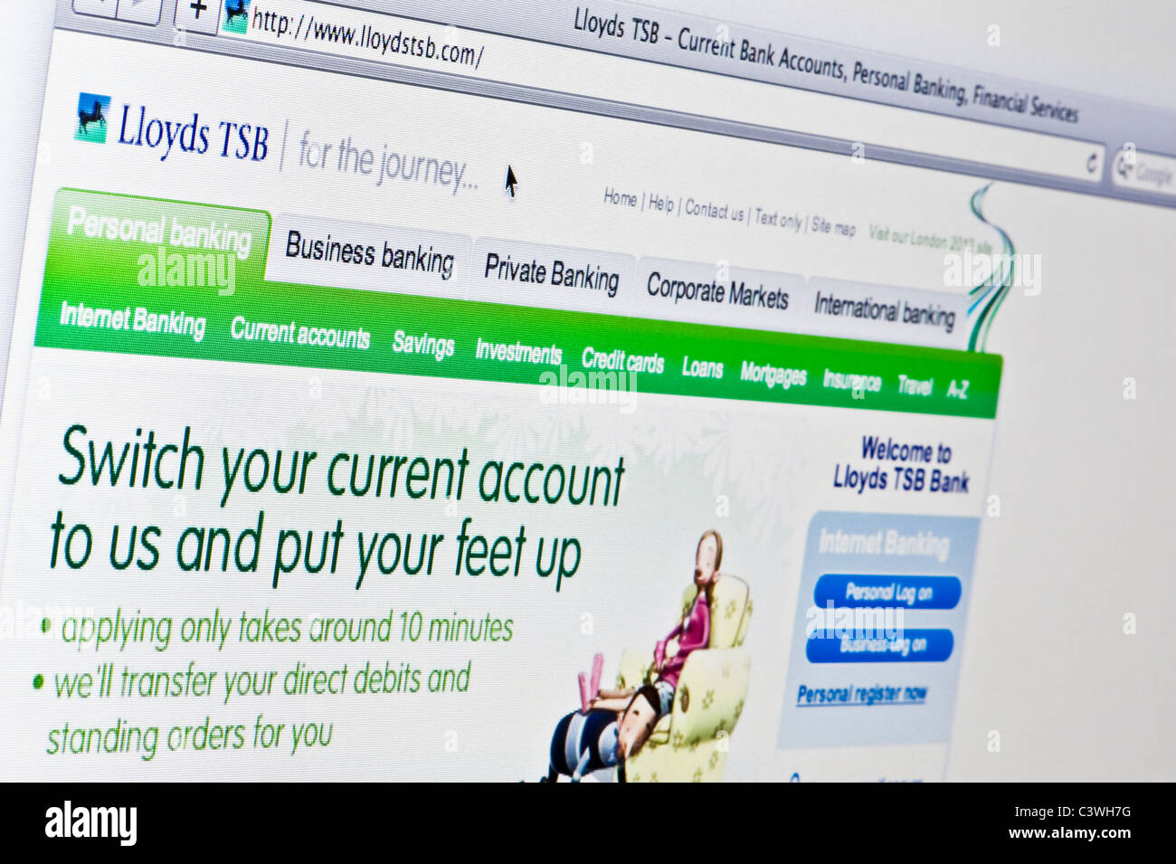 Close up of the Lloyds TSB logo as seen on its website. (Editorial use only: print, TV, e-book and editorial - Stock Image