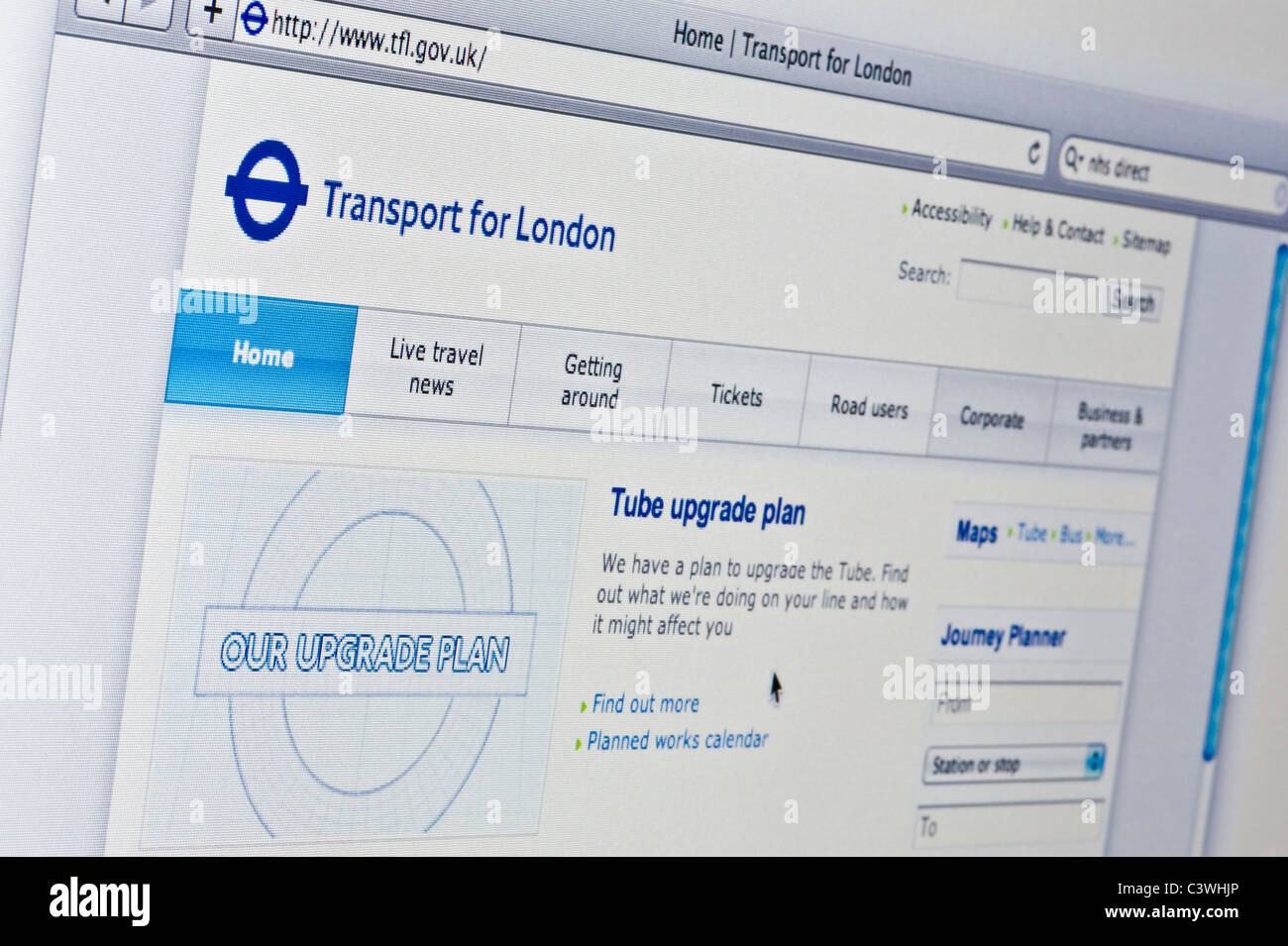 Close up of the TfL logo as seen on its website. (Editorial use only: print, TV, e-book and editorial website). - Stock Image