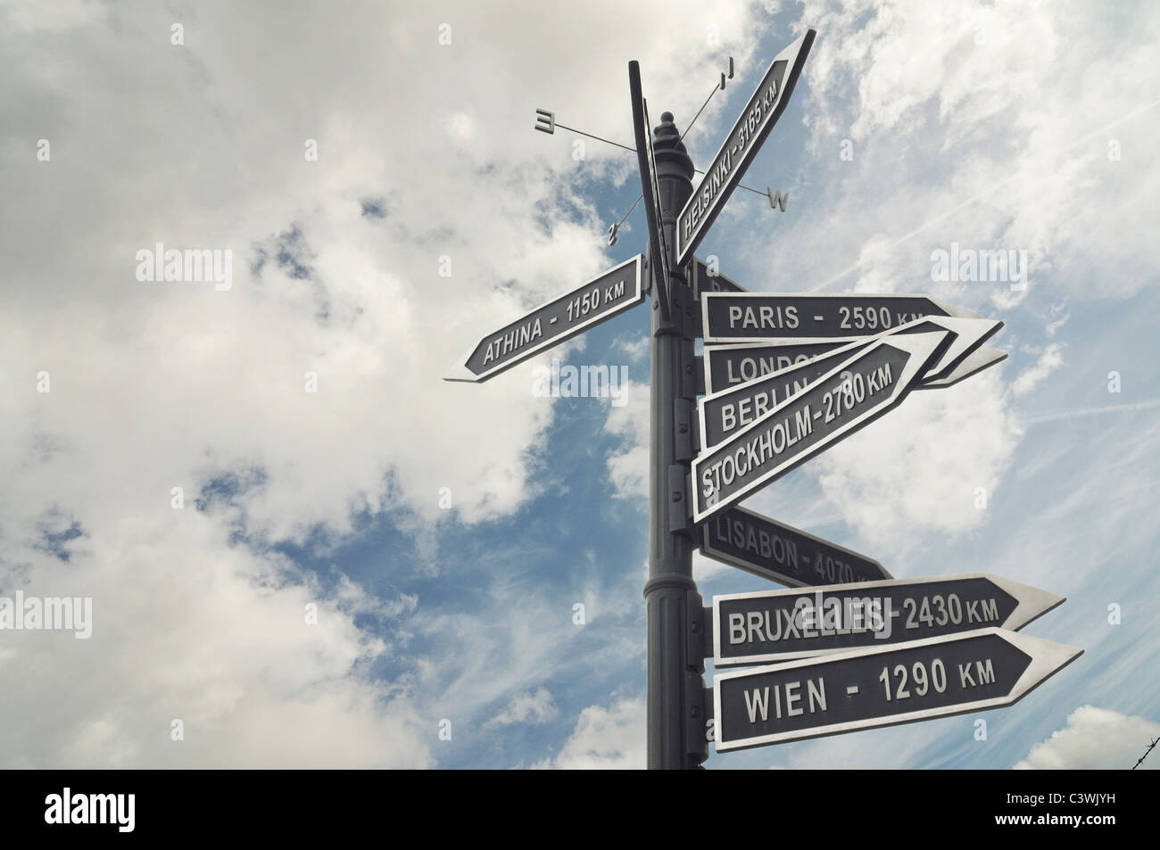 signs with direction to the major european capital cities - Stock Image