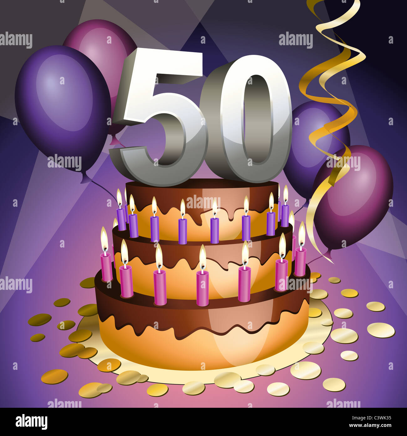 Fiftieth Anniversary Cake With Numbers Candles And Balloons Stock