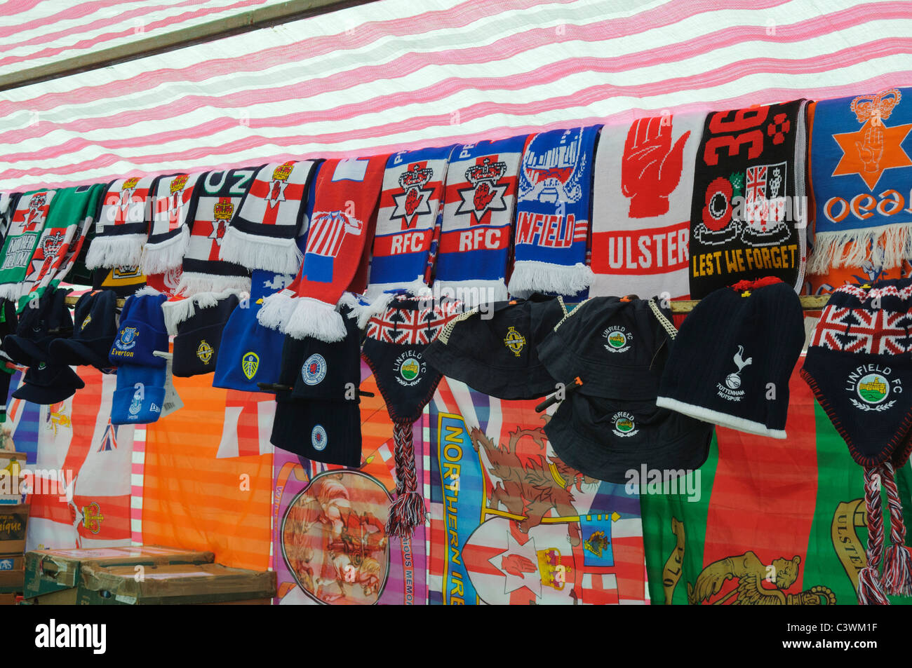 Market stall at a Northern Ireland traditional town fair, selling loyalist memorabilia - Stock Image