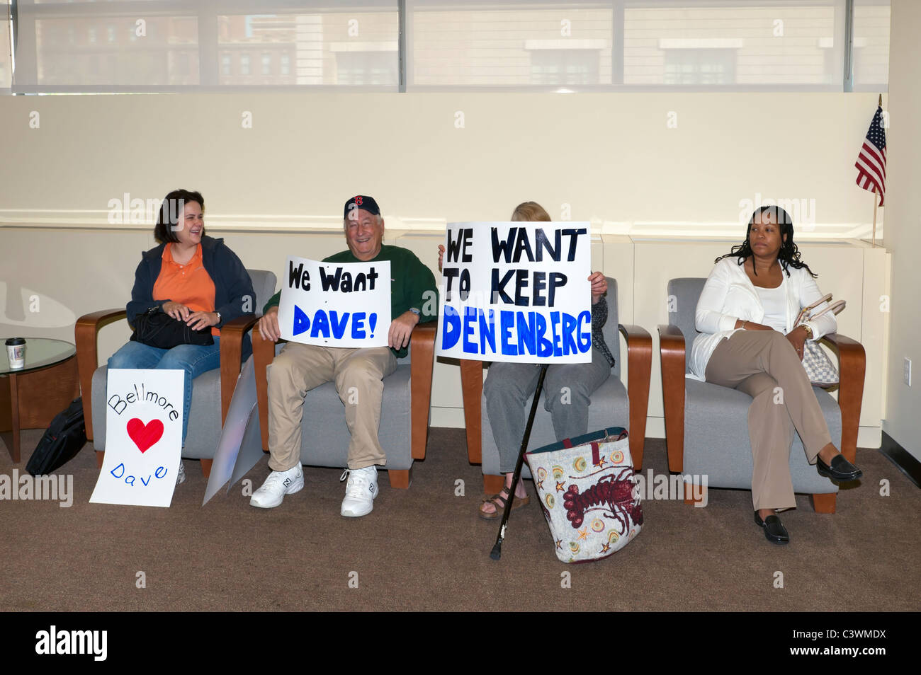 In Nassau County Legislative Building waiting room, people with posters supporting Dave Denenberg, May 9, 2011, - Stock Image