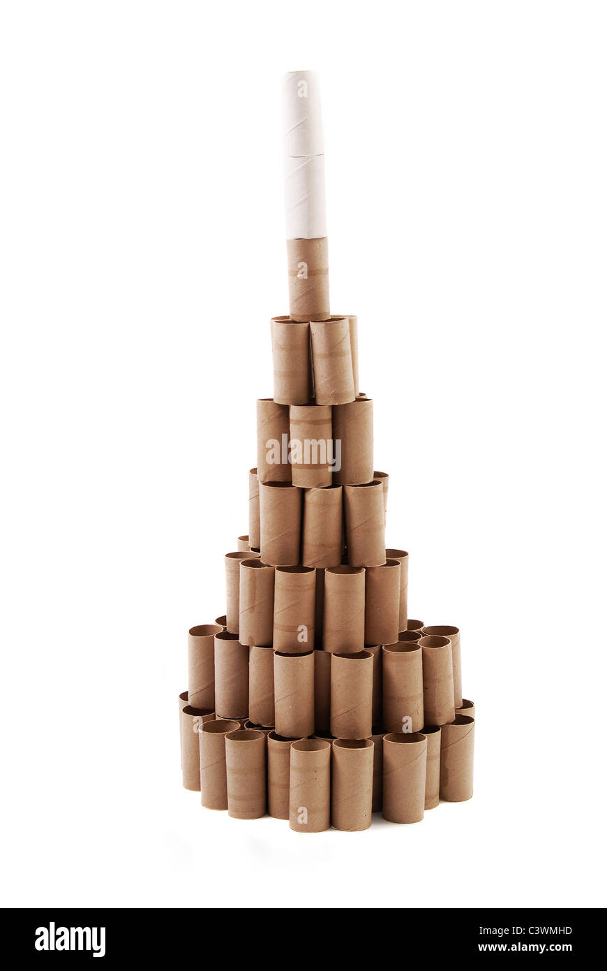 Christmas Tree made with cardboard rolls of toilet paper ...