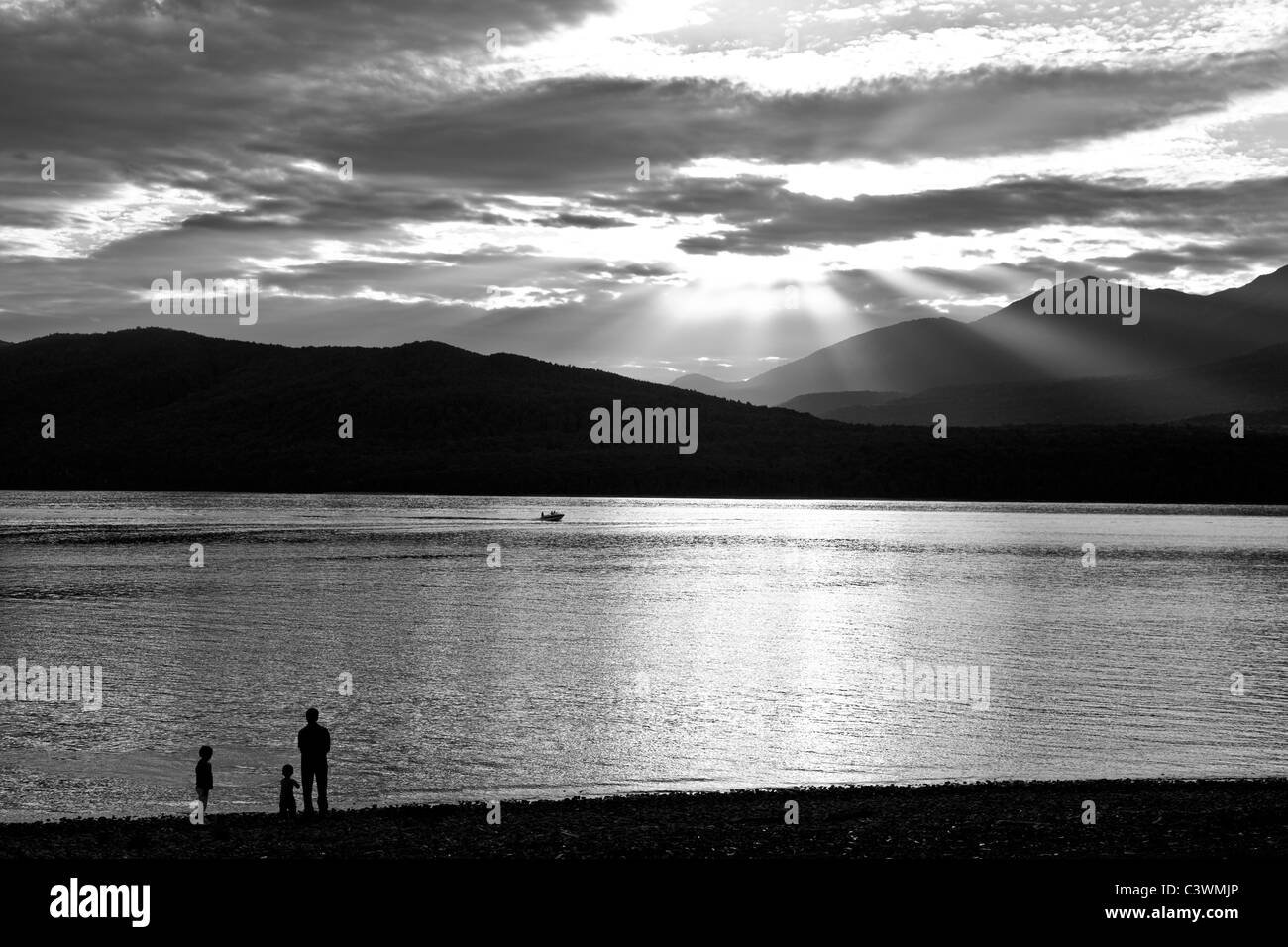 Sunset at Lake Manapouri in New Zealand - Stock Image