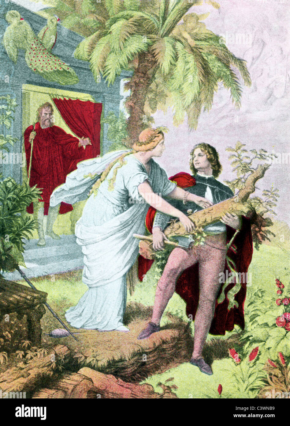 Miranda falls in love with Alonso's son, Ferdinand. From the doorway,  Prospero,