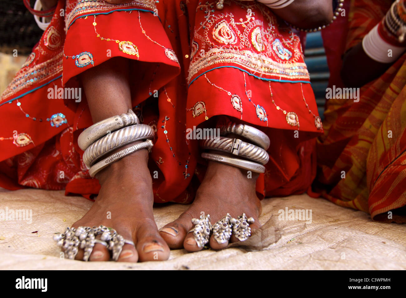Traditional tribal jewelery in Rajasthan, India - Stock Image