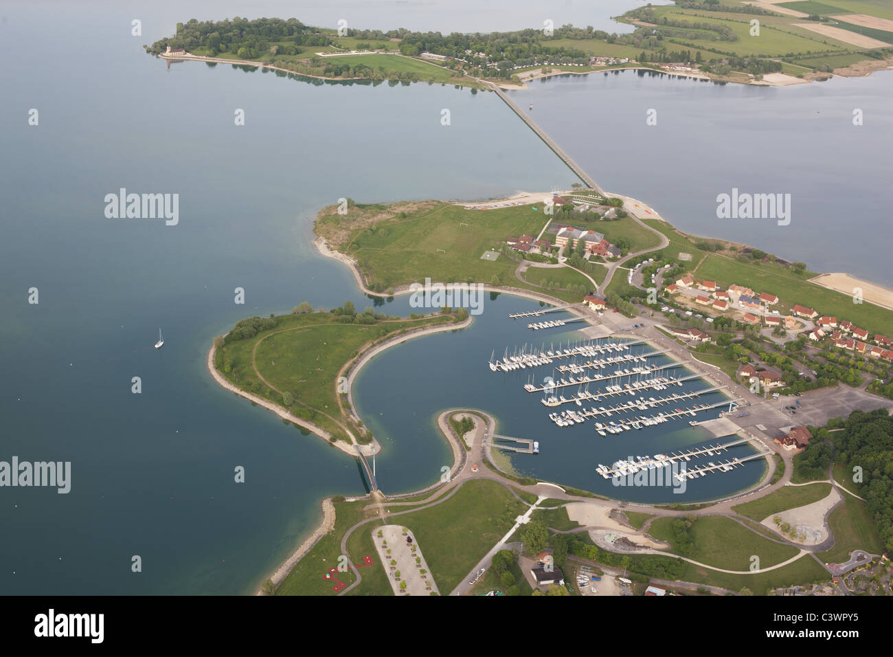 LAC DU DER MARINA (aerial view). Reservoir built to regulate the flow of the Marne River. Champagne-Ardenne, France. - Stock Image