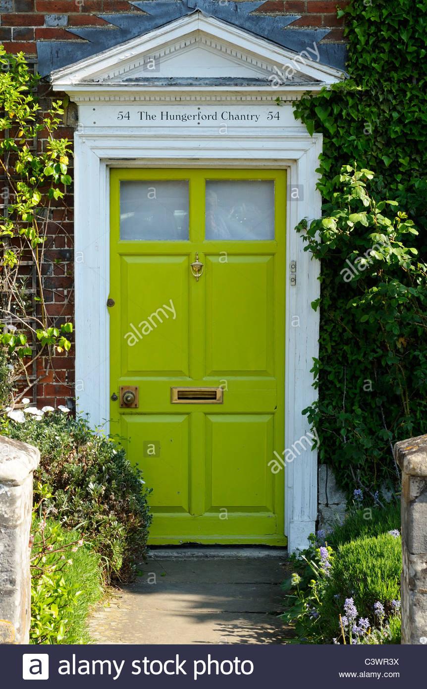 Green House door, Salisbury, Wiltshire England Stock Photo