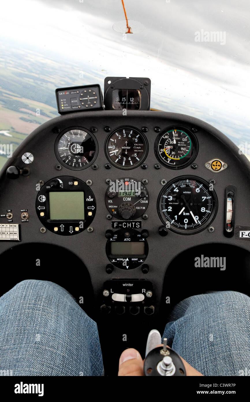 Schempp-Hirth Duo Discus cockpit, in flight - Stock Image