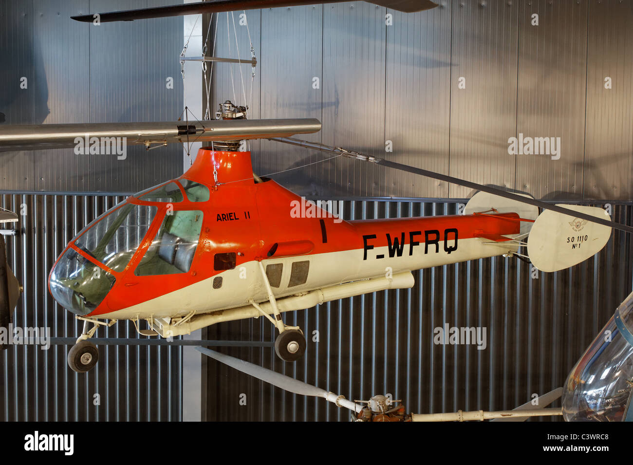 SO.1120 Ariel II, French Air Force helicopter, air and Space Museum (le Bourget), France - Stock Image