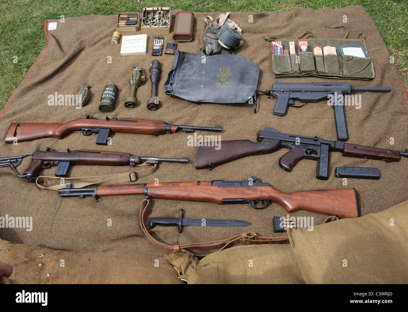 selection of american world war two weapons stock photo 36832053