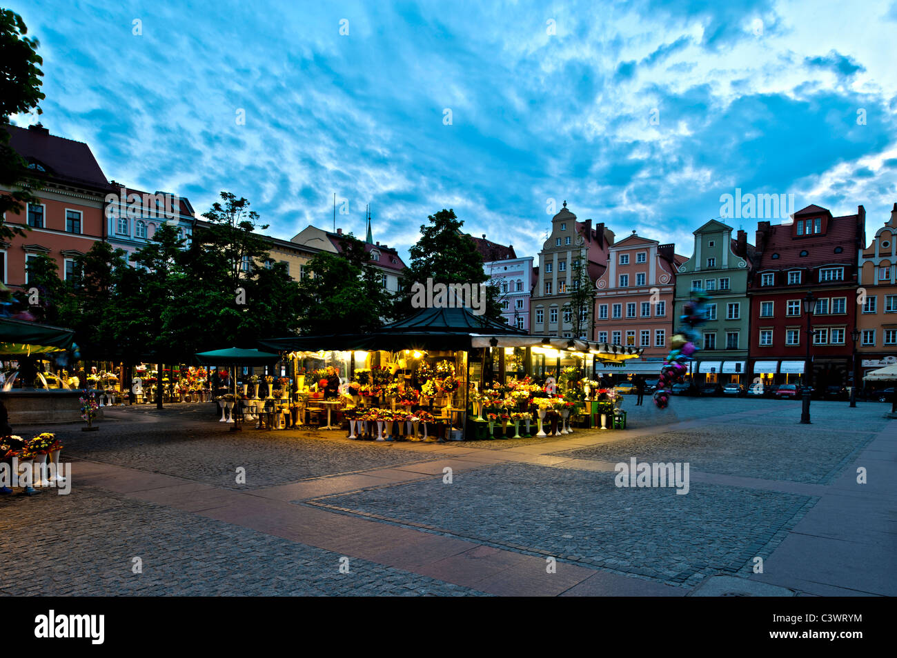 Flower market on Solny Square, Wroclaw, Poland - Stock Image