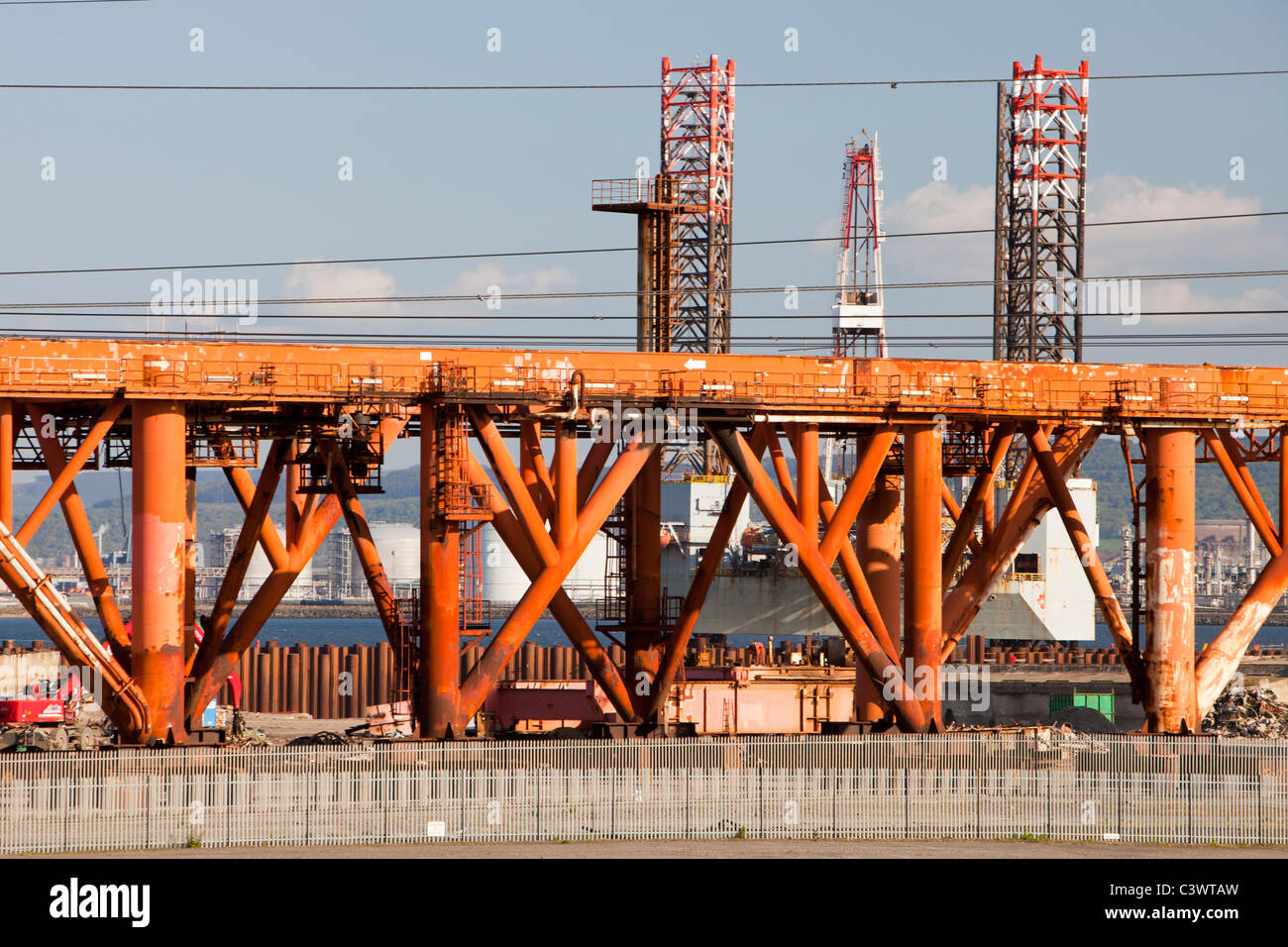 An old oil rigg and Jack up barge being dismantled at Able UK's ship dismantling plant at Seal Sands on Teeside, - Stock Image
