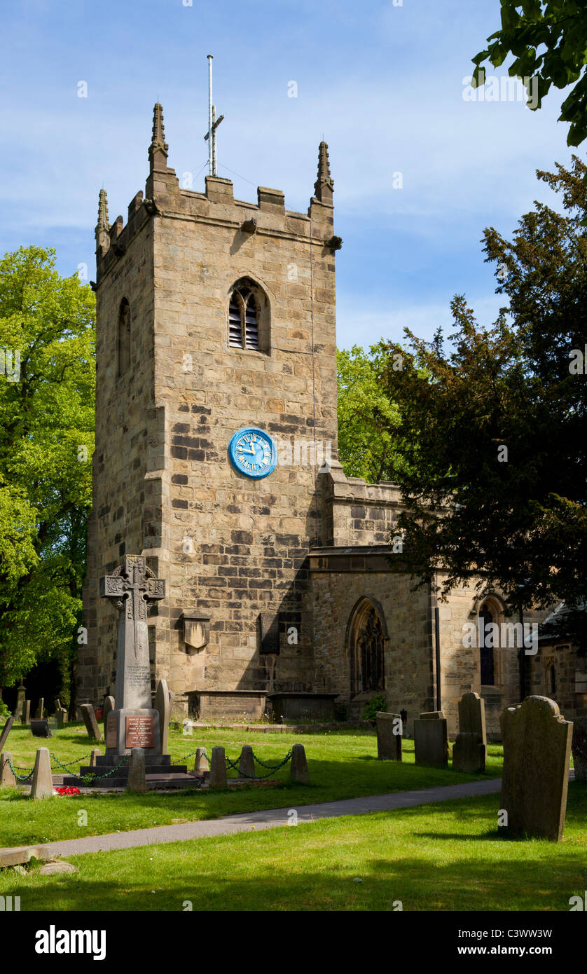 St Lawrence Church Eyam village Derbyshire National Park England GB UK EU Europe - Stock Image