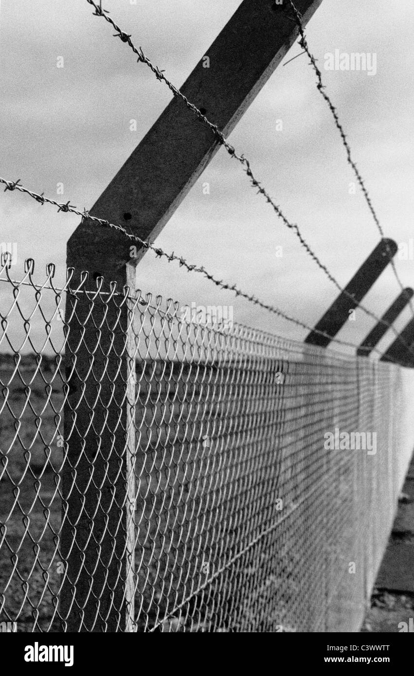 Barbed wire topped concrete & wire mesh fence in black and white ...