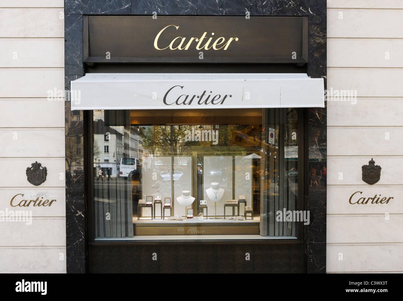 Cartier store on Rue Rennes just off the Boulevard St Germain, Saint Germain, Paris, France - Stock Image