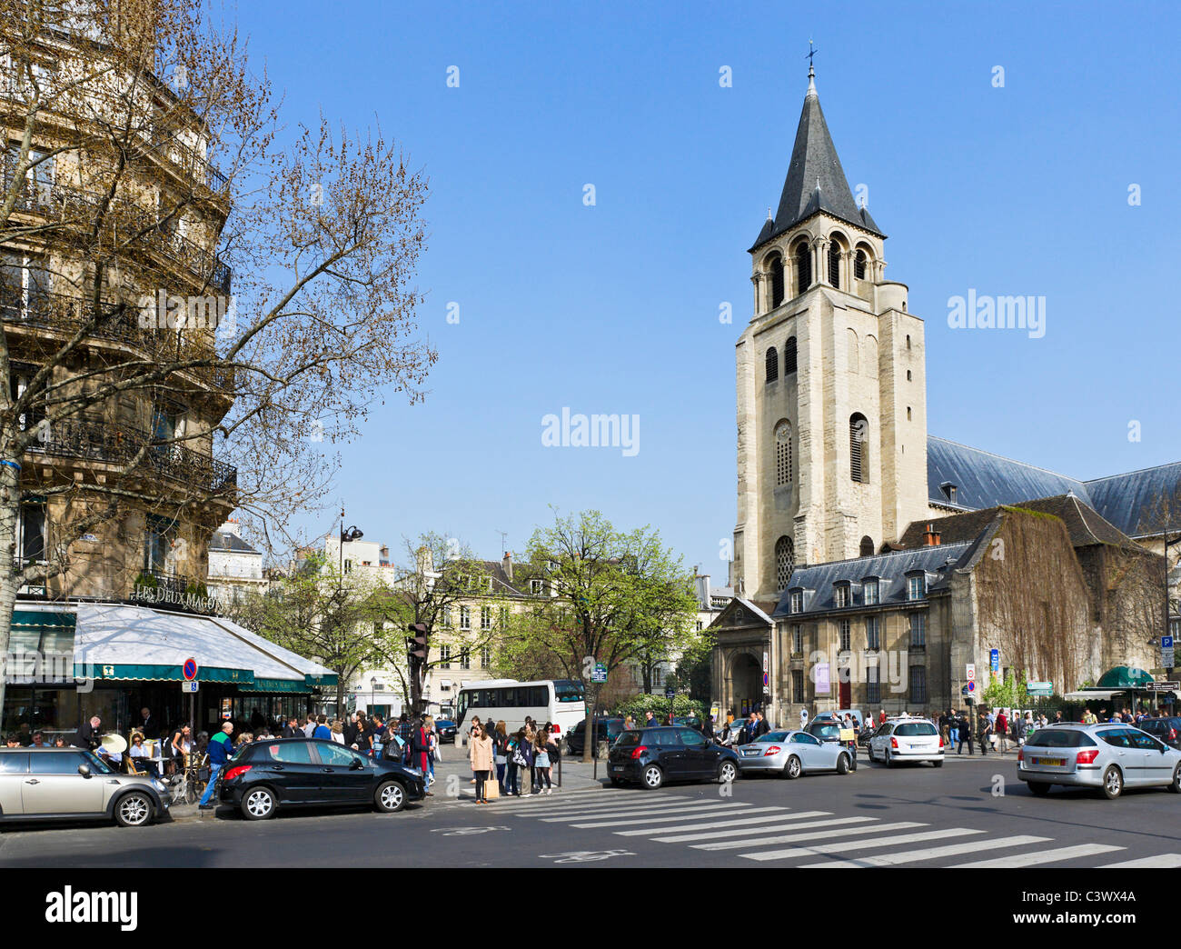 a04d4fa5c Place St Germain des Pres with Les Deux Magots cafe to the left and the  church of Saint Germain to the right
