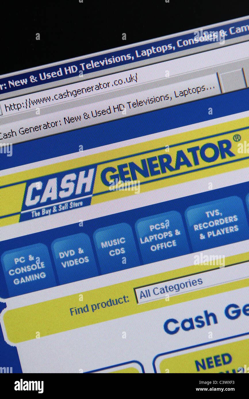 'cash generator' website online pawn shop - Stock Image
