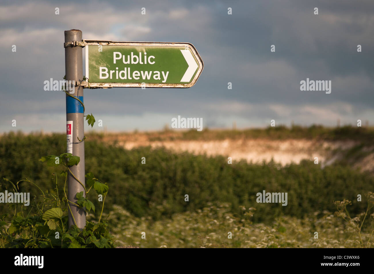 Sign for a Public Bridleway in a Rural Area - Stock Image