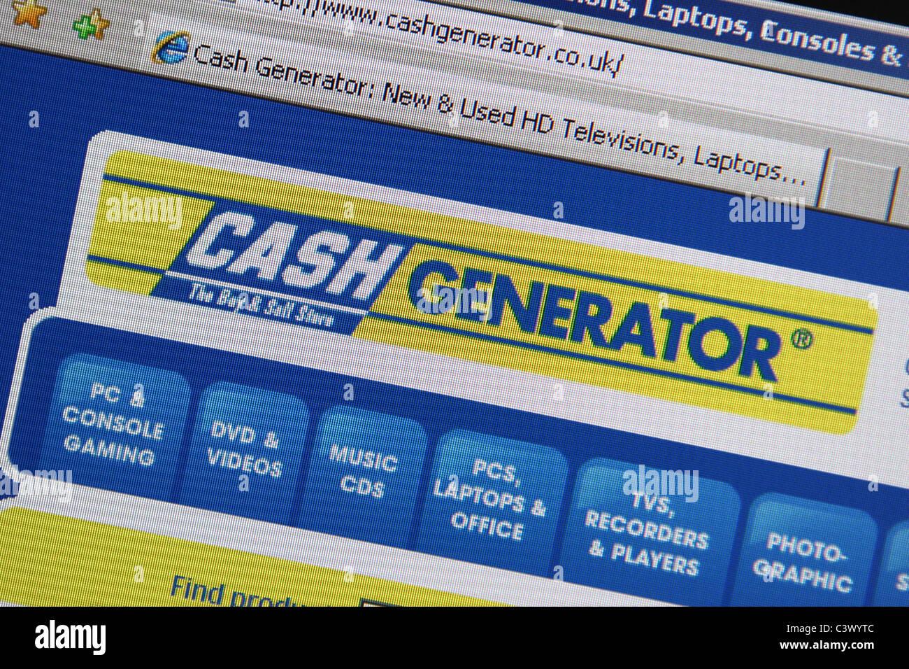 cashgenerator website screenshot Stock Photo