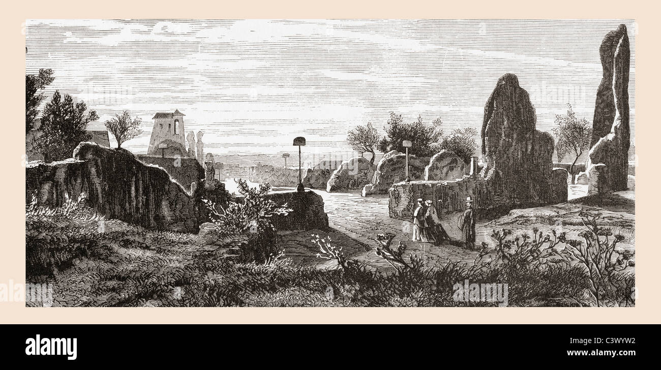 Ruins of The Palace of the Caesars, Palatine Hill, Rome, Italy in the late 19th century. - Stock Image