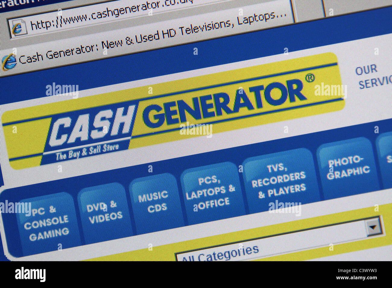 cash generator website screenshot - Stock Image