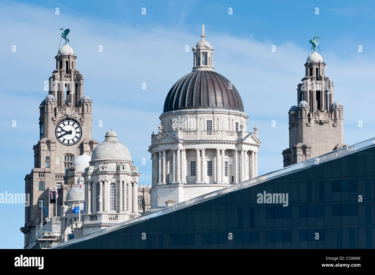 The Royal Liver and Port of Liverpool Buildings contrasting with new Mann Island development, Liverpool, England. - Stock Image