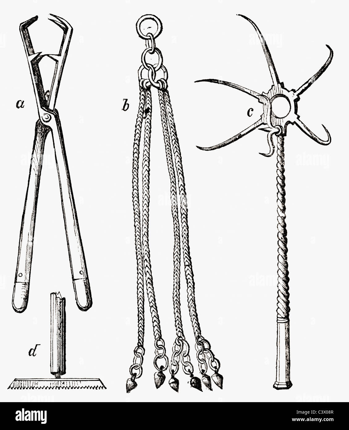 Possible instruments of torture buried with the martyrs in the Roman Catacombs - Stock Image