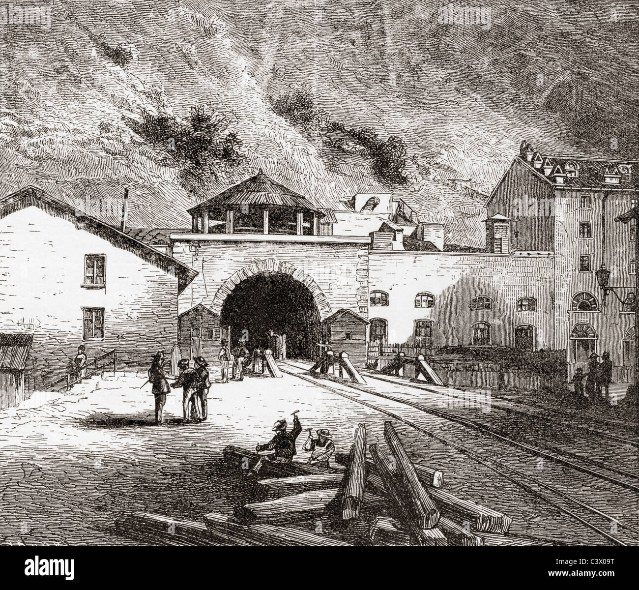 The Fréjus Rail Tunnel also called The Mont Cenis Tunnel, European Alps - Stock Image
