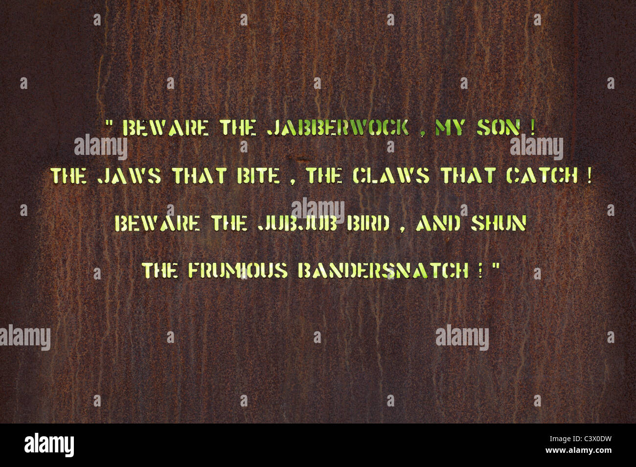 Part Of The Jabberwocky Poem By Lewis Carroll Cut Out In A