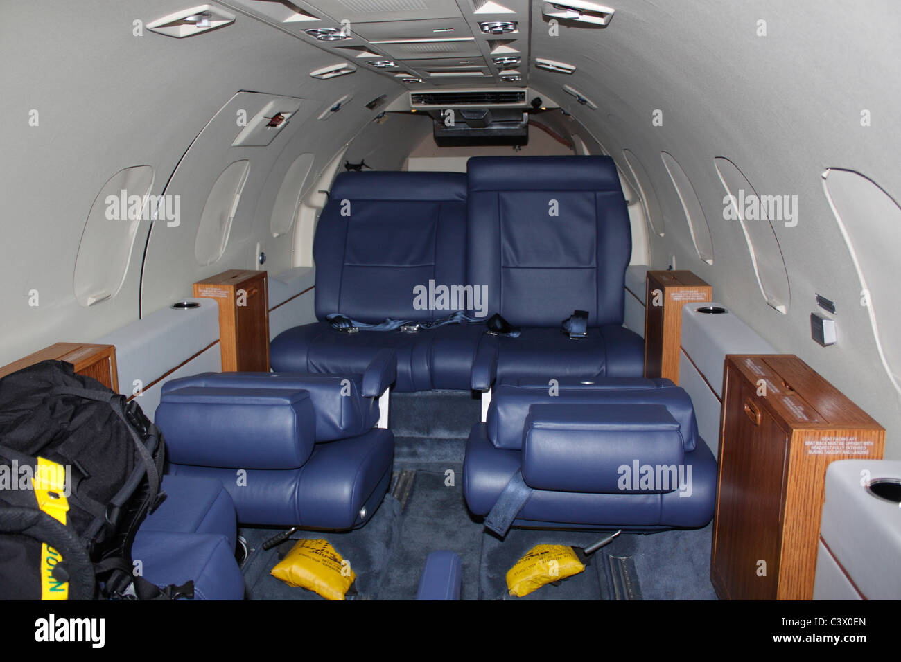 Inside the cabin of a Learjet executive jet belonging to the US Air Force - Stock Image