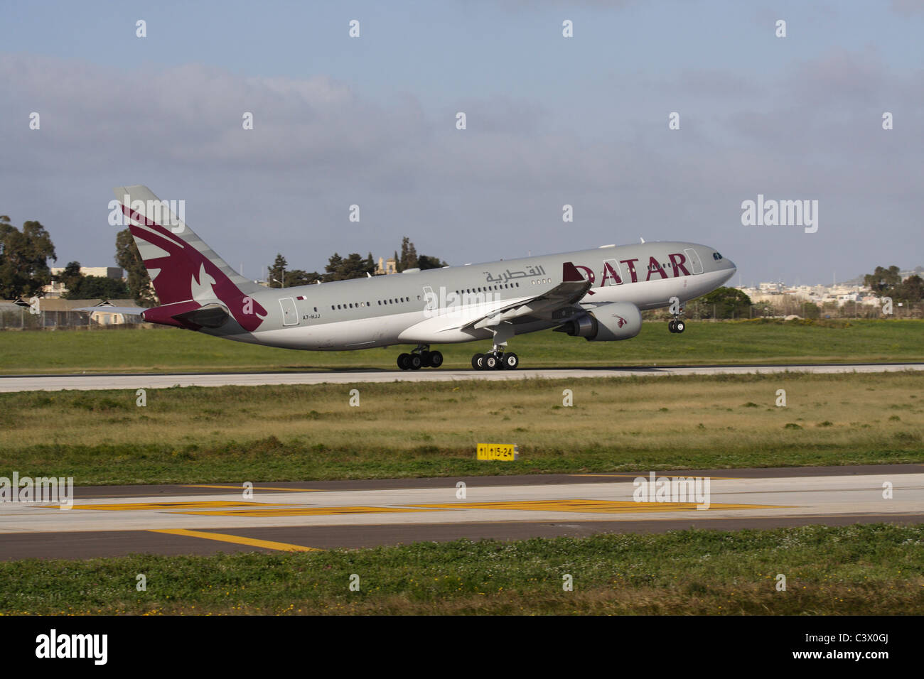 Airbus A330-200 of the Qatar Amiri Flight departing from Malta - Stock Image