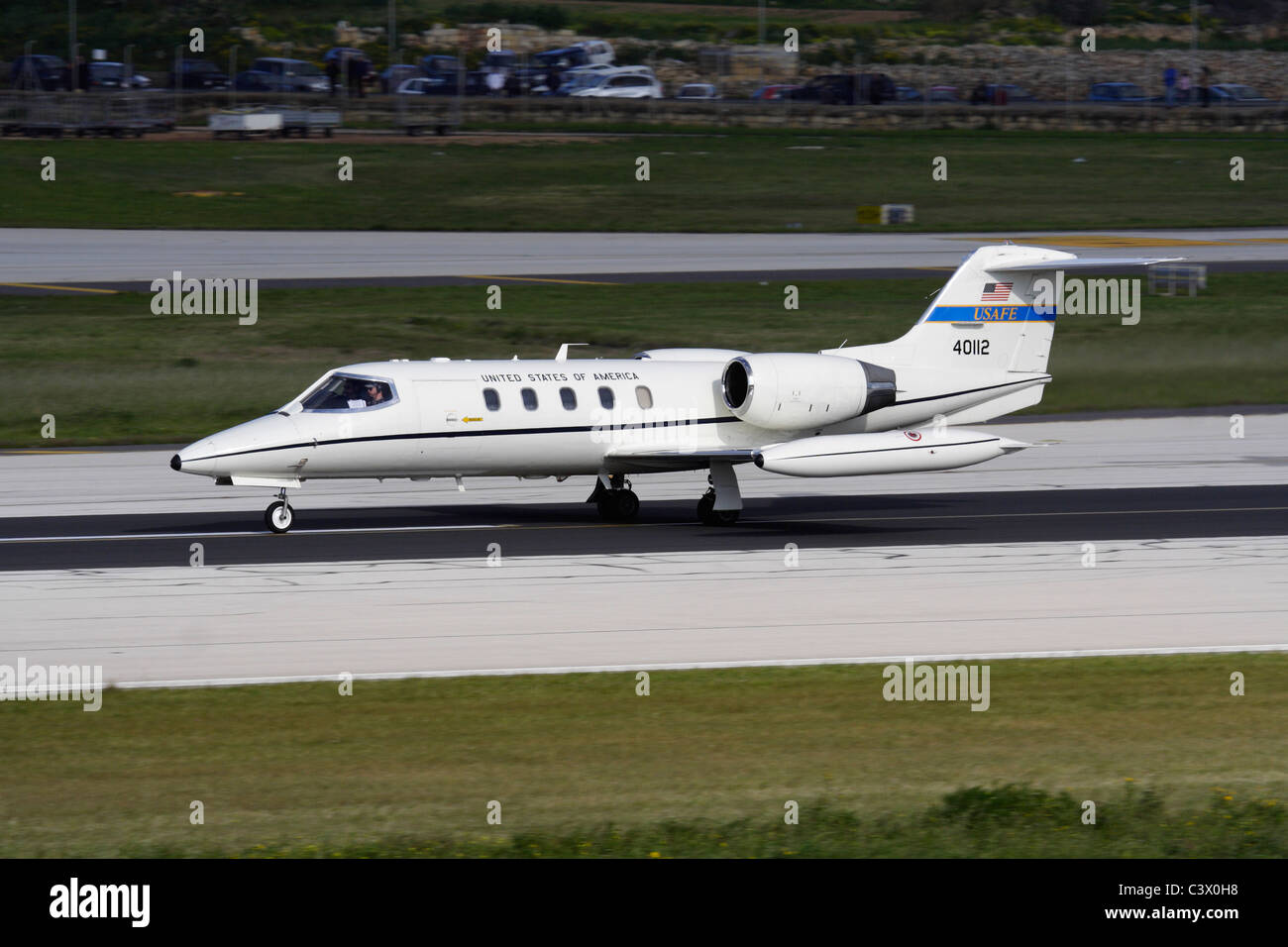 US Air Force Learjet C-21A in Malta - Stock Image