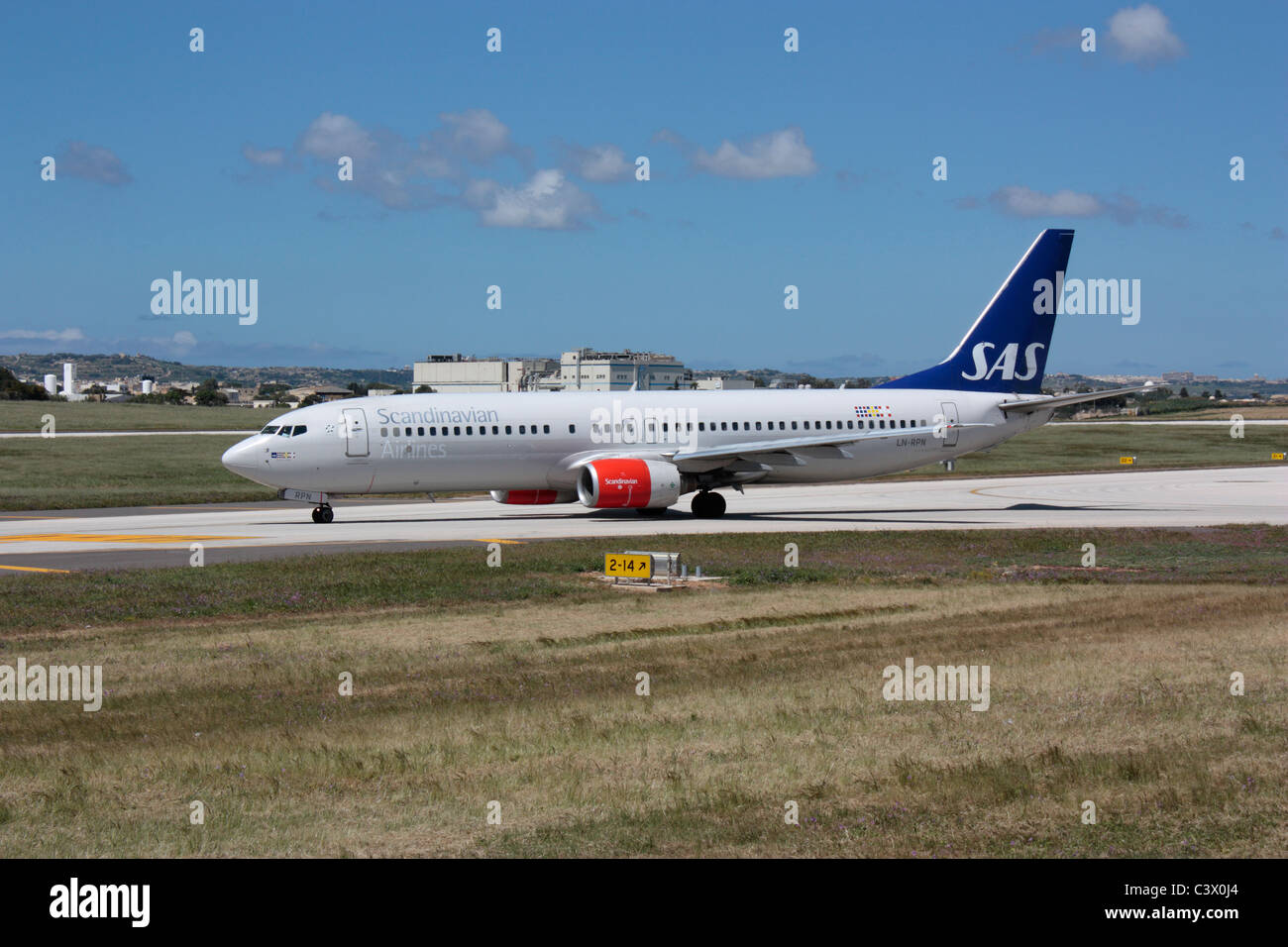 SAS Scandinavian Airlines Boeing 737-800 taxiing for departure from Malta - Stock Image