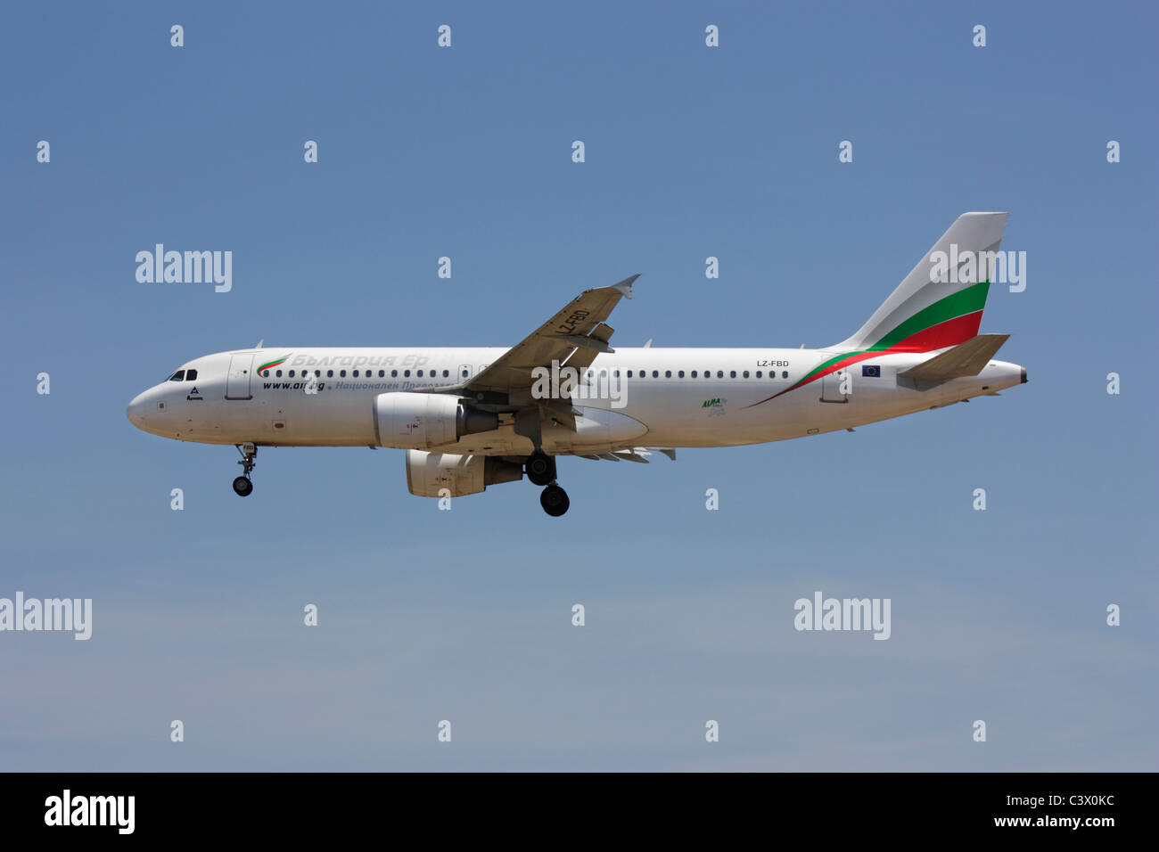 Bulgaria Air Airbus A320 passenger jet airplane on final approach - Stock Image