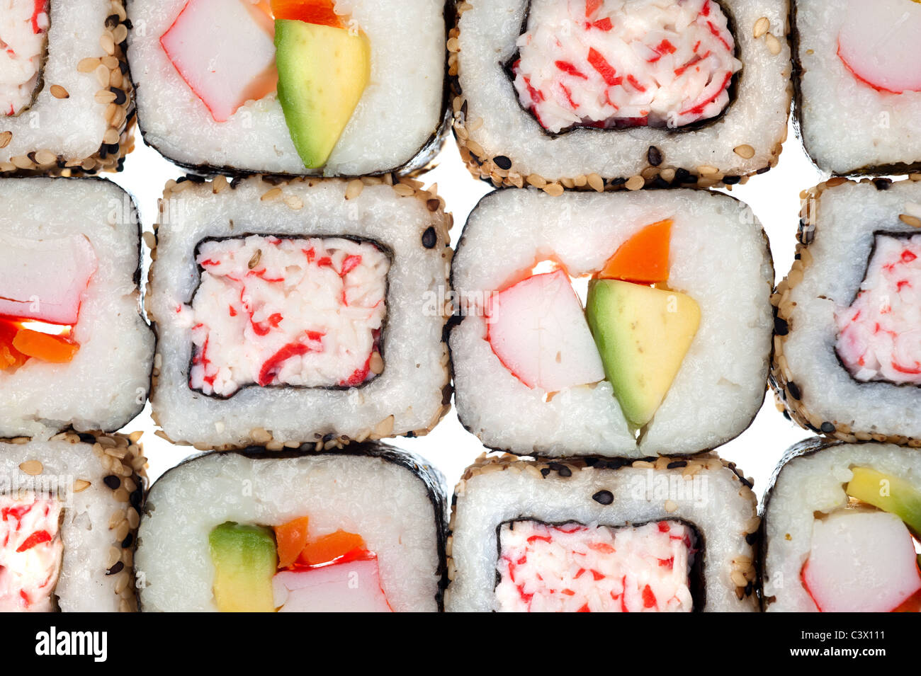 Colorful rolls of sushi - Stock Image
