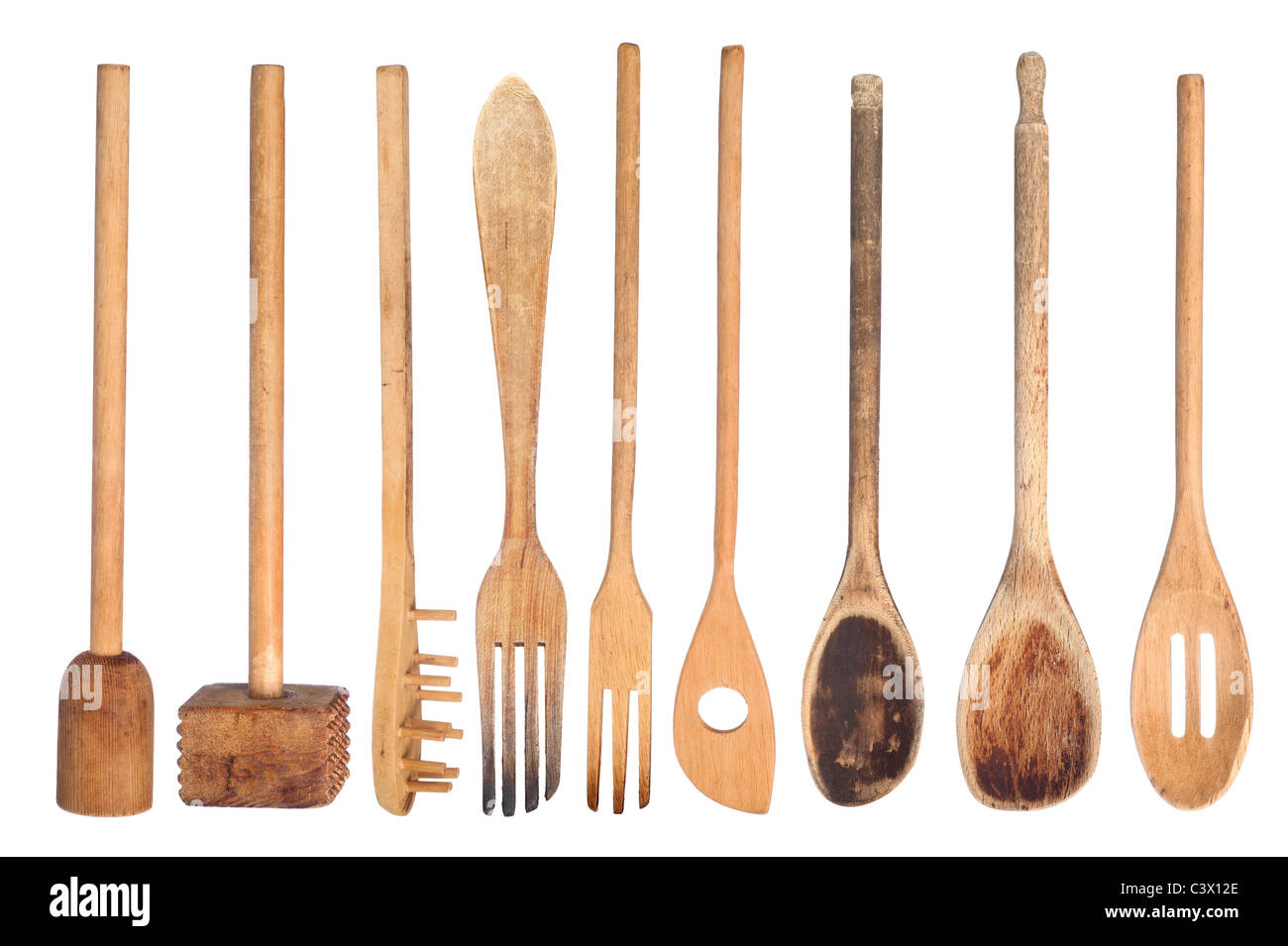 A collection of wooden kitchen utensils isolated on white Stock Photo