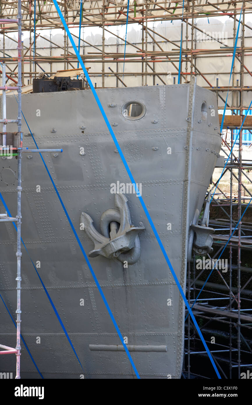 restoration of ss nomadic tender to the olympic and titanic in hamilton graving dock in titanic quarter queens island - Stock Image