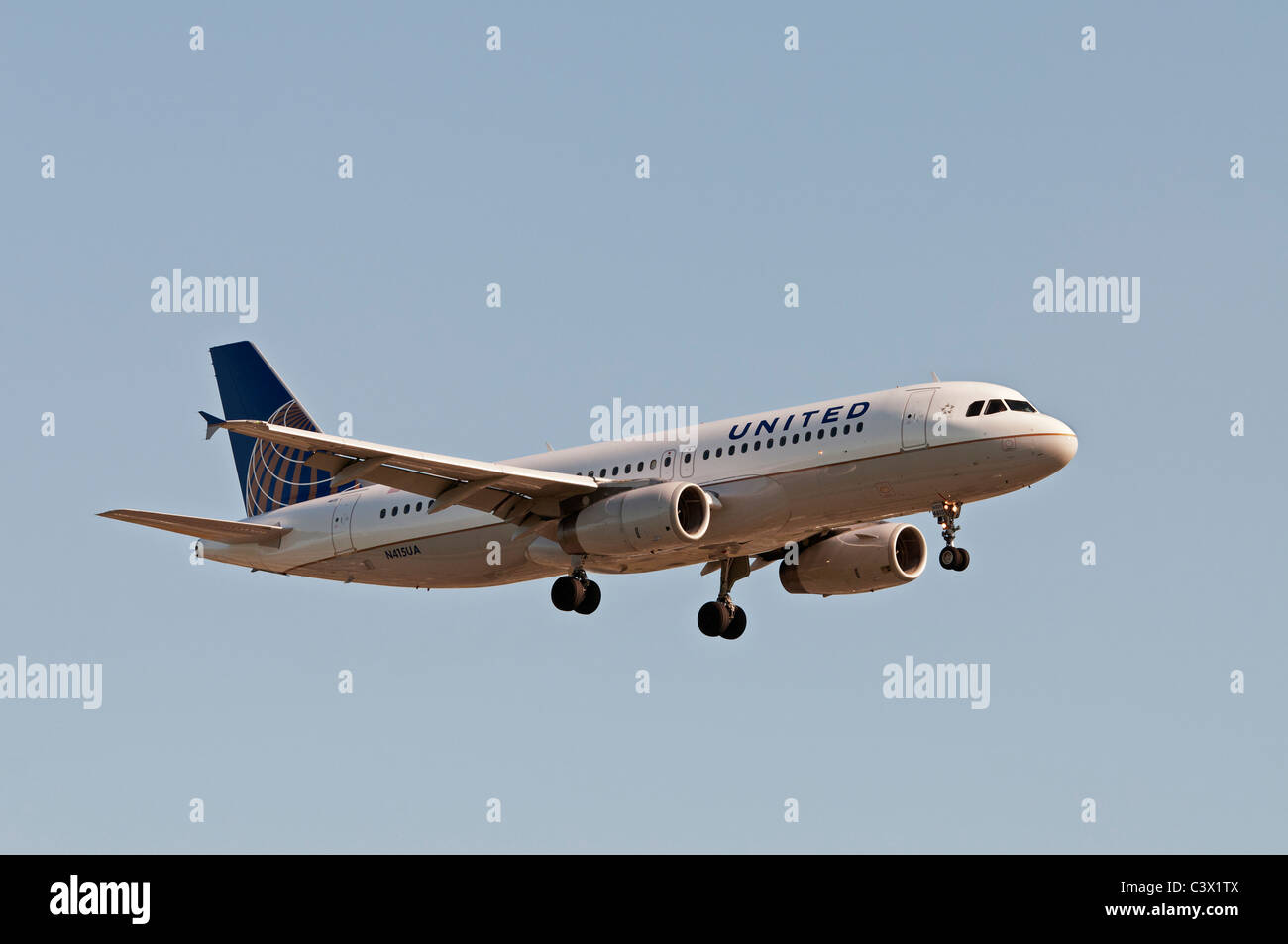 An Airbus A320 jet airliner belonging to United Continental Holdings, inc and painted in the airlines new UNITED - Stock Image