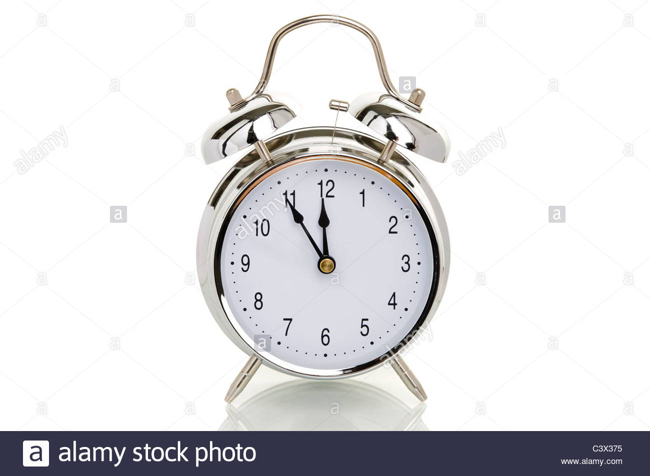alarm clock time set to five minutes to twelve symbolic image