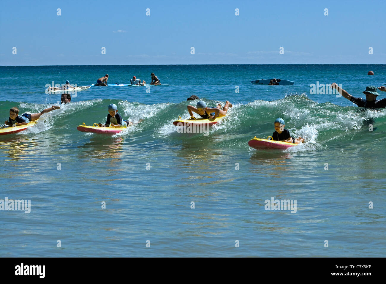 Australia, Sydney, Manly Beach. Weekly competition of young surfers on sunday morning. - Stock Image