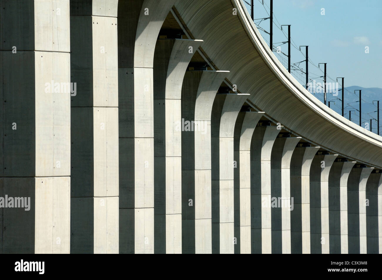 Ventabren Rail or Railway Viaduct and Concrete Columns or Pillars Provence France - Stock Image
