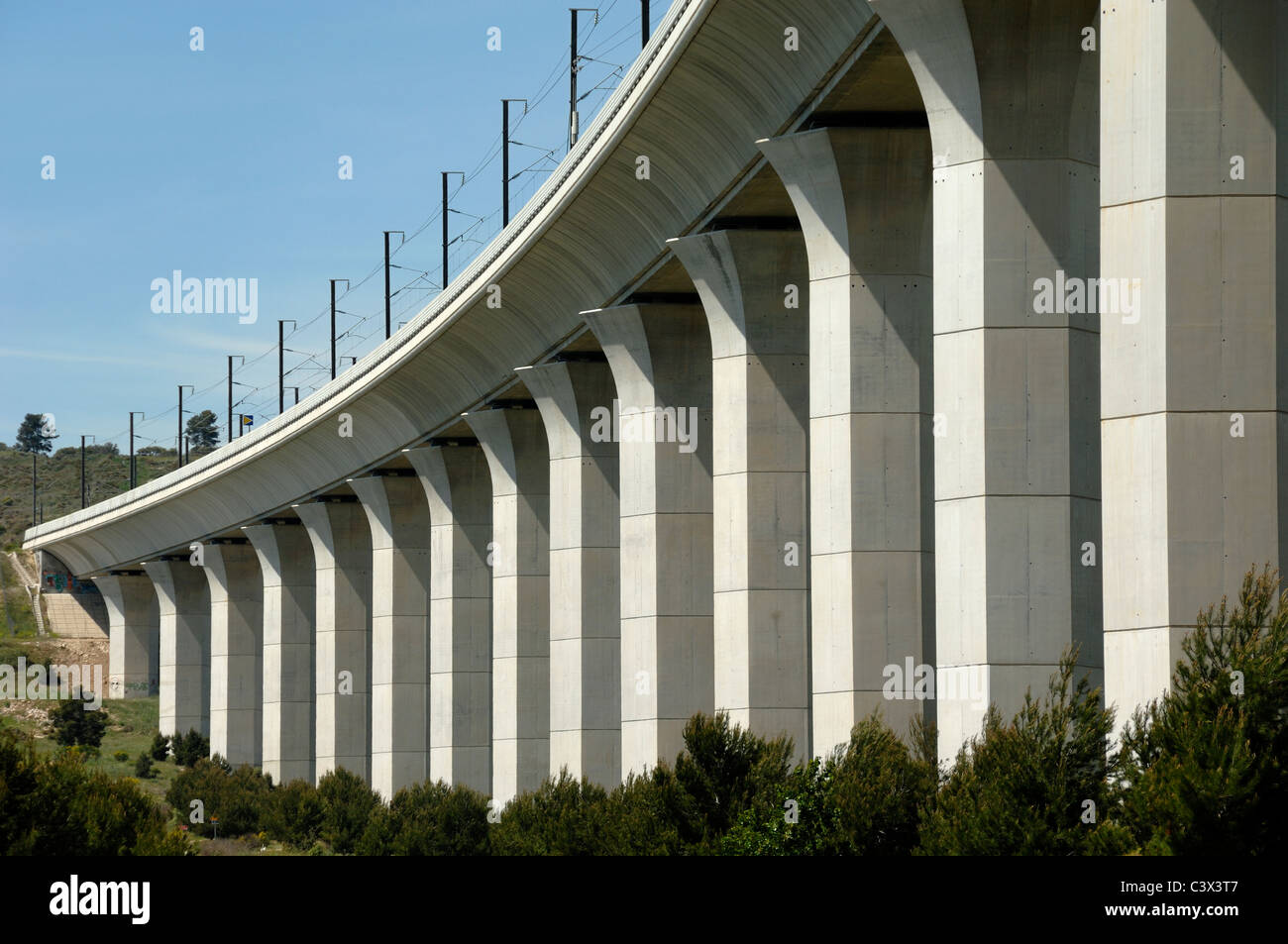 Ventabren Rail or Railway Viaduct & Concrete Columns of Pillars Provence France - Stock Image