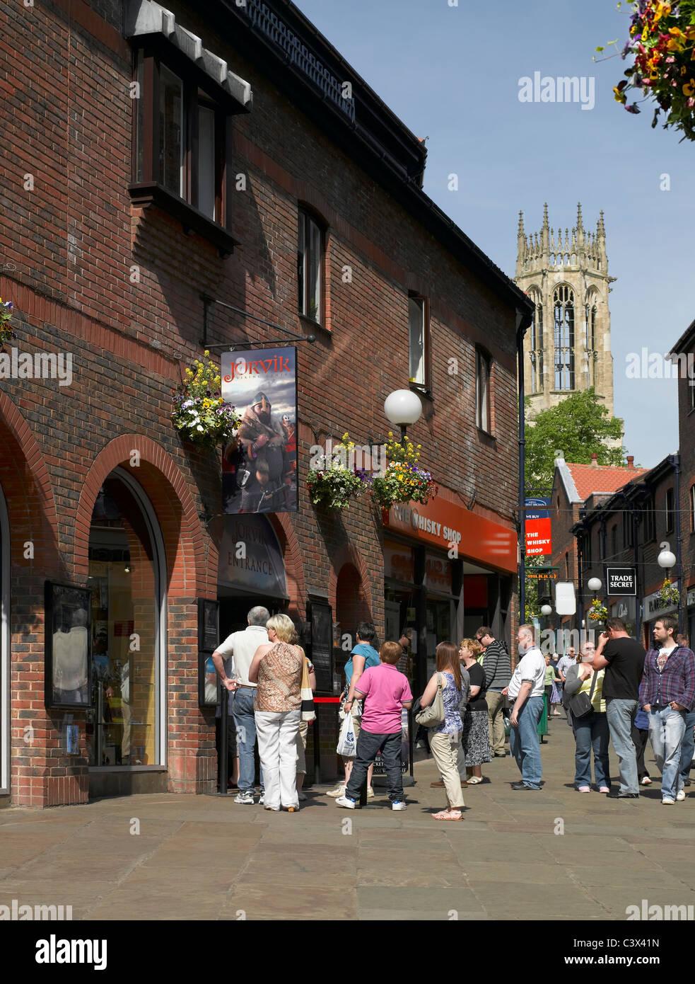 Jorvik Viking Centre Coppergate and All Saints Church in background York North Yorkshire England UK United Kingdom - Stock Image