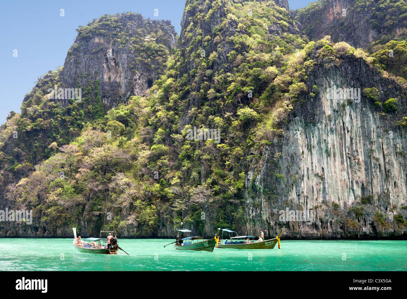 Tourist boats cruising Phang Nga Bay, Phuket Thailand 2 - Stock Image
