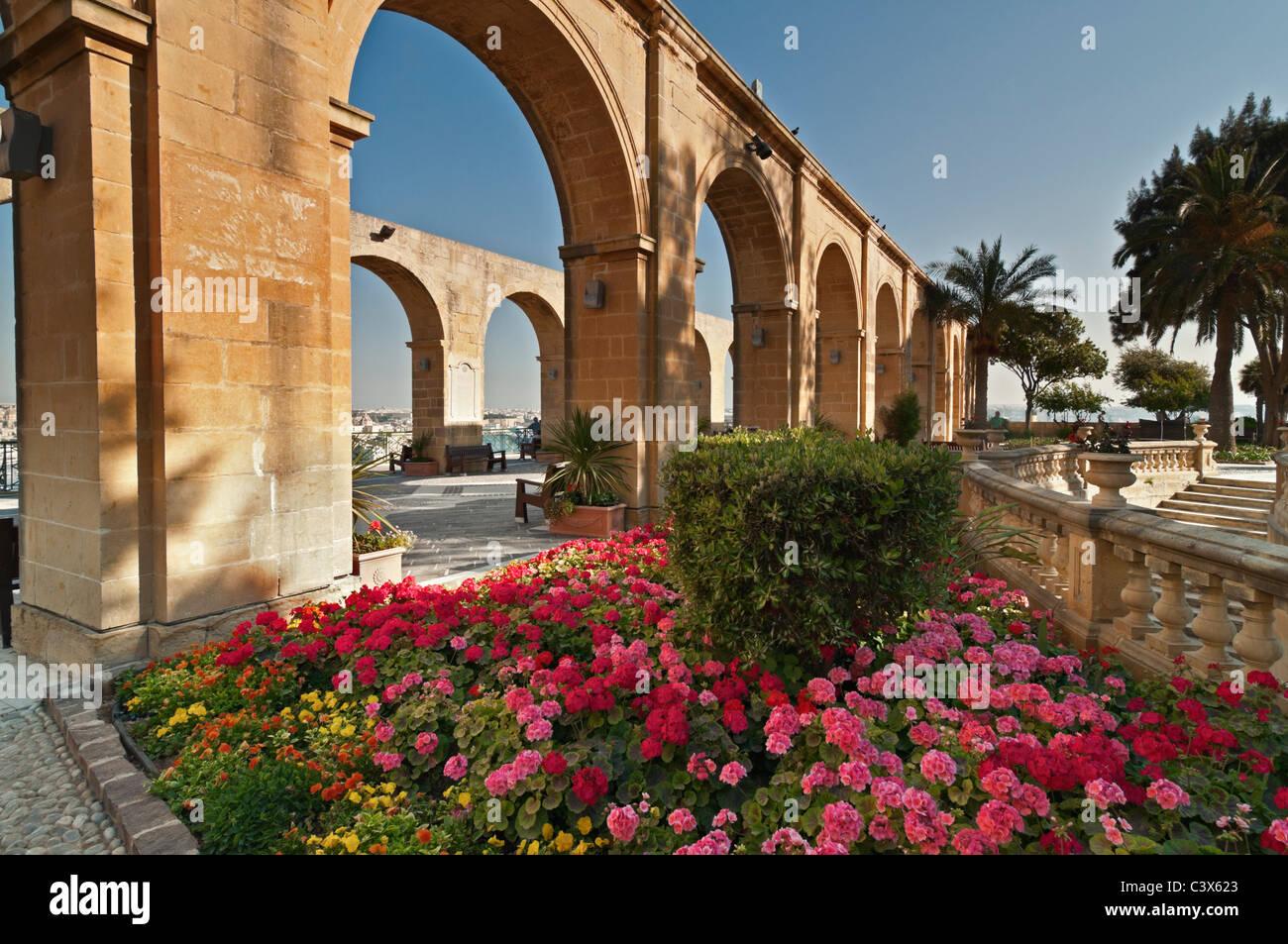 Upper Barrakka Gardens Valletta Malta - Stock Image