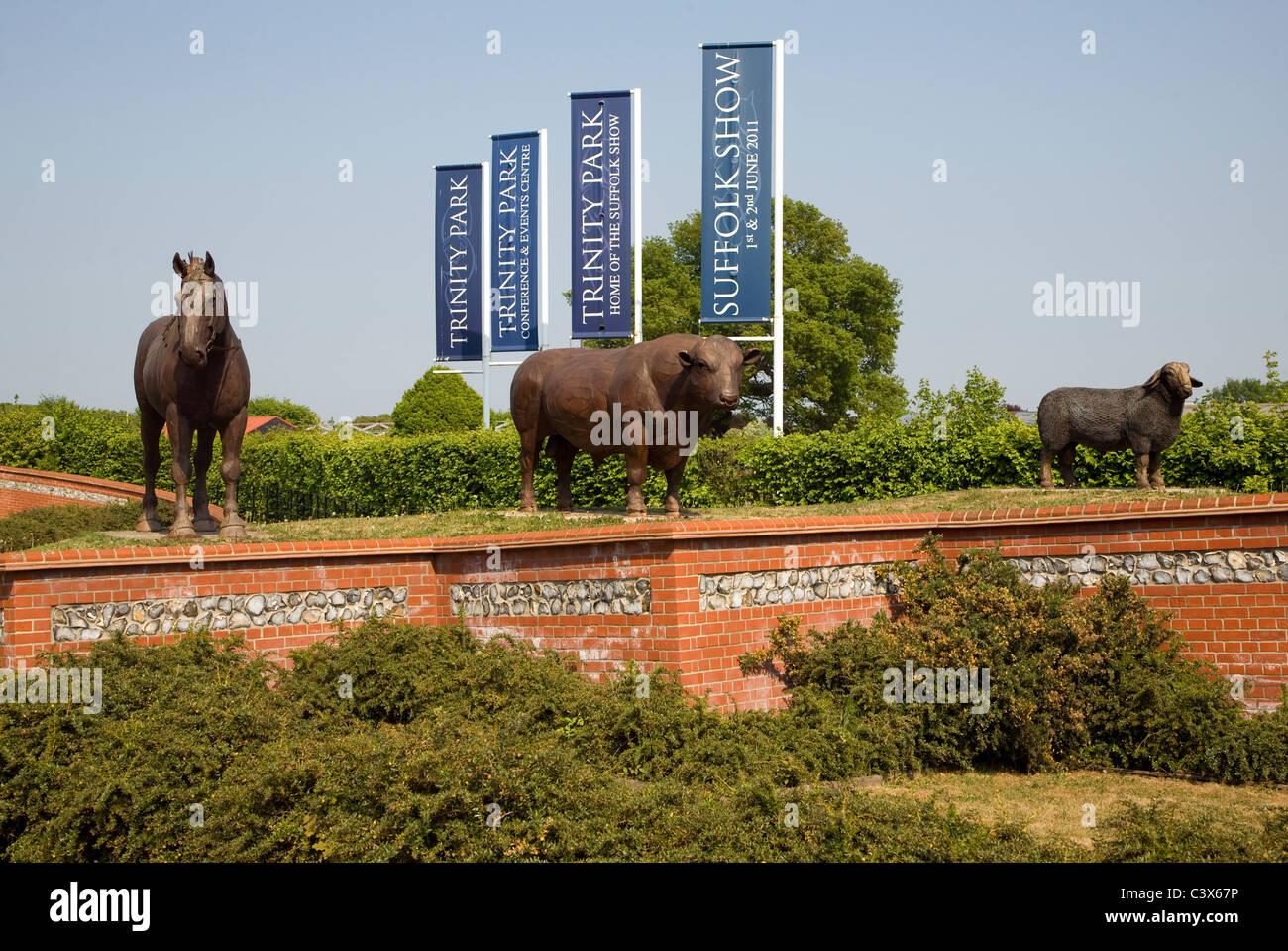 Sculptures farm animals Suffolk Showground Ipswich Suffolk England - Stock Image