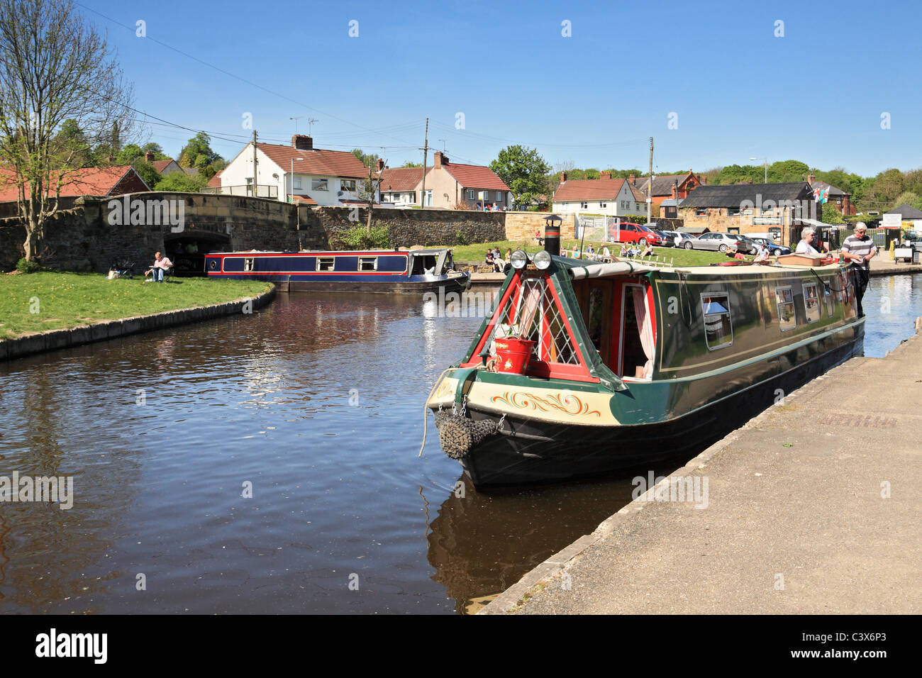 Canal boats at Trefor Basin on the  Llangollen Canal, North Wales, UK Stock Photo