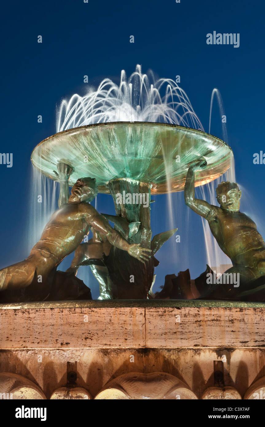 Triton Fountain City Gate Square Valletta Malta - Stock Image